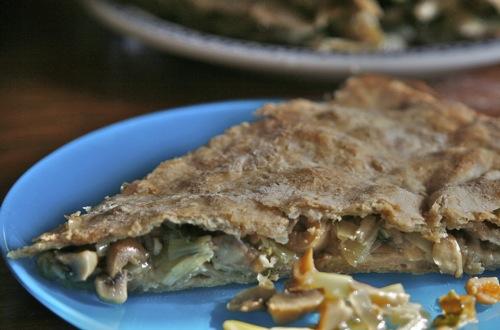Gresk pai med sopp og purre